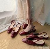 低跟鞋酒紅系列韓國小方頭蝴蝶結淺口低跟單鞋復古后空舒適OL通勤女鞋子