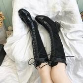 長筒馬丁靴女2019英倫風秋冬系帶騎士靴子潮秋冬新款粗跟過膝長靴