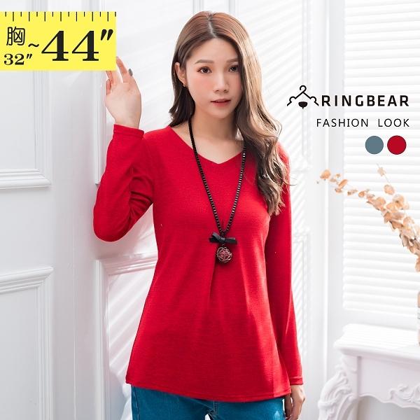 素面--優雅氣質簡約素色打褶修身顯瘦彈力V領針織長上衣(紅.藍M-2L)-X364眼圈熊中大尺碼