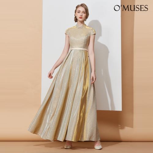 OMUSES 金蔥旗袍伴娘訂製金色長禮服