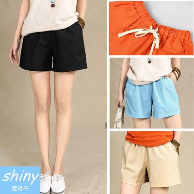 【A2077-2】shiny藍格子-瑕疵特賣.夏季棉麻沙灘休閒寬鬆短褲