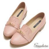 訂製鞋 貓咪造型低跟紳士鞋-艾莉莎Alisa【107B555】粉色下單區