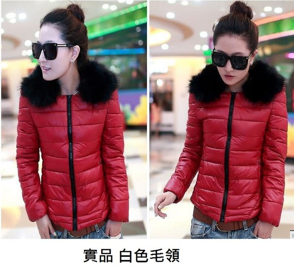 卡樂color..短版羽絨拉鍊外套可拆卸毛領(實品白色) 修身保暖 2色 紅色 黑色 #nbl5