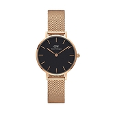 【Daniel Wellington】PETITE瑞典時尚品牌經典簡約米蘭腕錶-玫瑰金x黑-28mm/DW00100217/原廠兩年保固