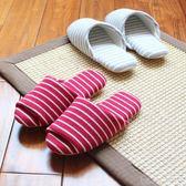 日式家居家情侶無聲軟底夏季男女室內木地板布底大碼棉拖鞋 深藏blue