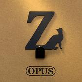 OPUS 歐式鐵藝壁飾掛勾/無痕掛鉤(當貓咪遇上字母Z)黑