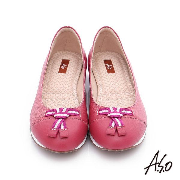 A.S.O 樂福氣墊 摔花牛皮帆布蝴蝶結奈米平底鞋  桃粉紅
