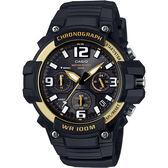 CASIO 卡西歐 運動計時腕錶-黑x金框 MCW-100H-9A2VDF / MCW-100H-9A2