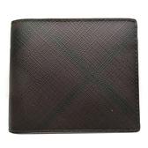 BURBERRY 巴寶莉 棕紅黑格紋PVC材質二折式短夾 【二手名牌BRAND OFF】
