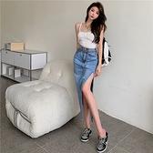牛仔裙 韓系春夏時尚顯瘦單寧開叉包臀長裙 配鍊條腰帶 共1色 S-XL 依米迦