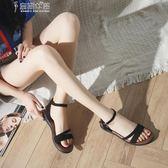 涼鞋羅馬涼鞋女夏季正韓時尚chic一字扣帶露趾平底女鞋子奈斯女裝