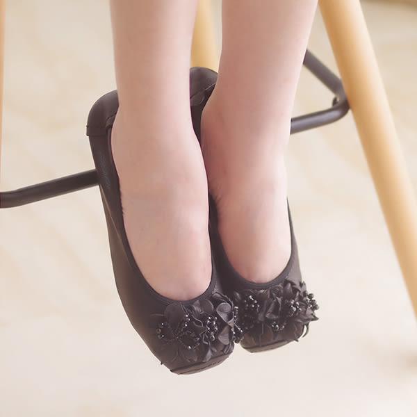 娃娃鞋 懶人鞋 休閒鞋 黑 女鞋 真皮平底鞋《SV8550》快樂生活網