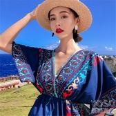 民族風沙灘裙女夏海邊度假波西米亞長裙大碼顯瘦連身裙 優尚良品