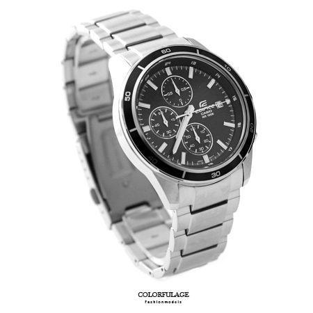 EDIFICE系列 三眼黑面賽車腕錶不鏽鋼腕錶 防水100米手錶 柒彩年代【NE1454】原廠公司貨