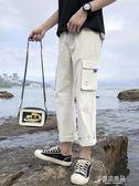 九分工裝褲男潮牌直筒寬鬆薄款休閒闊腿褲子男生韓版潮流9分 原本良品