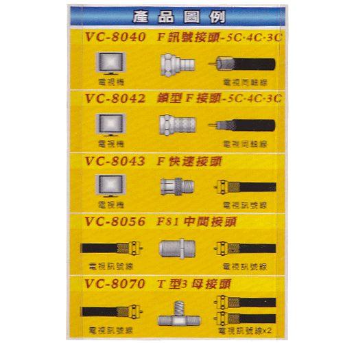 《鉦泰生活館》VC電視配件 F81中間接頭 VC-8056