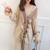 針織外套 溫柔毛衣開衫寬松慵懶風中長版針織外套 巴黎春天
