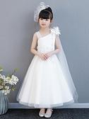 女童晚禮服 公主裙 兒童白色婚紗長裙蓬蓬紗花童主持人鋼琴演出服夏兒童洋裝