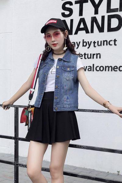 270#2019春季新款韓版刺繡鉚釘牛仔馬甲短款背心坎肩外套ZM-2FB086日韓屋