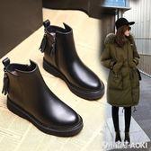 馬丁靴女流蘇厚底百搭英倫風學生冬季鞋子女生韓版加絨短靴女平底 青木鋪子