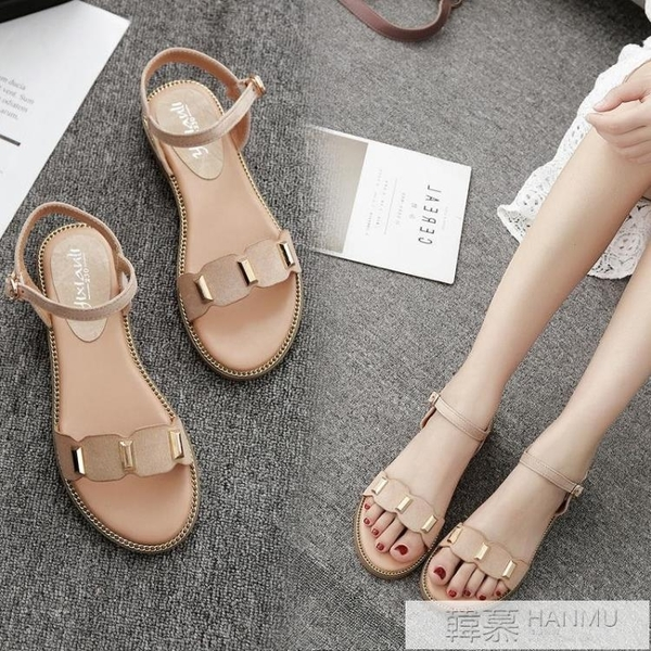 涼鞋女夏季平底新款港味學生百搭羅馬鞋韓版簡約鞋子 夏季新品