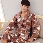 秋冬季法蘭絨男士睡袍加厚加長款浴袍男珊瑚絨情侶浴衣女士睡衣 科炫數位旗艦店