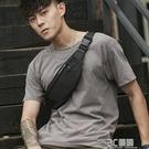 HK男士腰包潮牌休閒單肩斜背包多功能小型輕便胸包跑步手機包男包 3C優購