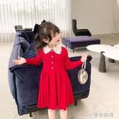 兒童洋裝 女童連衣裙秋裝新款韓版兒童裙子春秋款洋氣長袖學院風針織裙 快速出貨