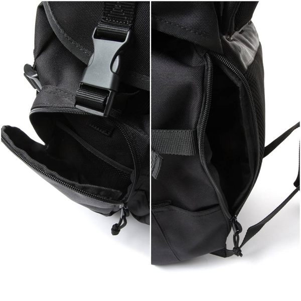 GLOBAL WORK男素色多功能夾層縮口後背包-一色