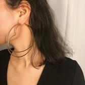 耳環 大圓桃心耳釘女歐美大氣個性夸張時尚鏤空圓形和心形金屬耳環飾品 熊熊物語