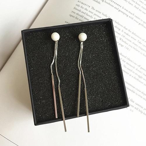 【NiNi Me】夾式耳環 氣質優雅珍珠垂墬雙直條夾式耳環 夾式耳環 E0070