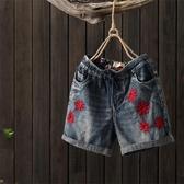 降價兩天 復古繡花牛仔短褲大尺碼 熱褲女 夏季鬆緊腰直筒褲 休閒褲 牛仔褲