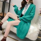 慵懶風新款秋冬針織開衫女裝韓版寬松中長款學生大碼百搭毛衣外套