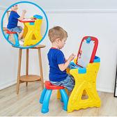 兒童畫板小黑板 二合一畫架塗鴉寫字板寶寶家用留言板支架式畫架WD  檸檬衣舍