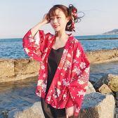 黑五好物節 夏裝新款女裝韓版少女少女開襟和風和服花朵印花學生防?衣薄外套 森活雜貨