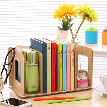♚MY COLOR♚韓國DIY 多功能木製桌面收納盒 桌面收納CD架 書立 文件書架 創意收納盒【R09】