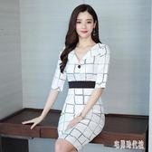 小眾OL連身裙 2019新款女裝夏天v領流行職業白色格子襯衫洋裝 zh2173【宅男時代城】