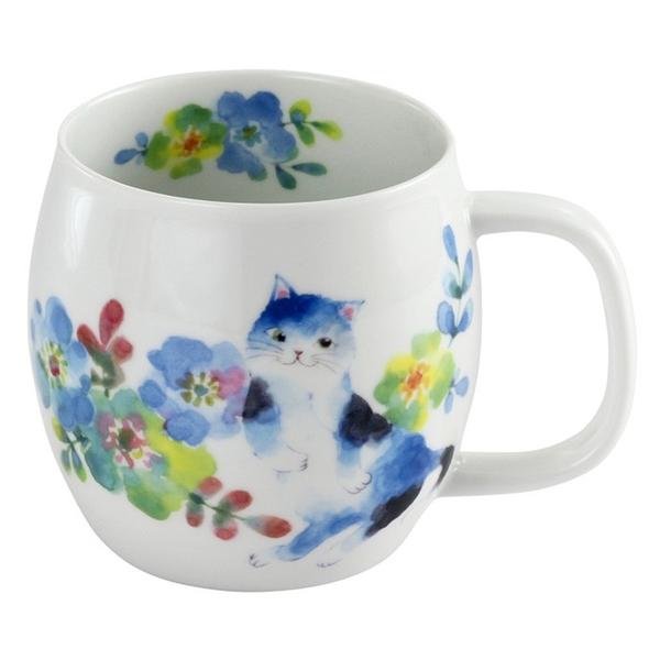 【日本製】 花貓系列 瓷器馬克杯 藍色 SD-6770 - 日本製 花貓系列