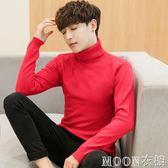 高領可翻領毛衣男修身個性青年新款潮流秋冬大紅針織打底衫薄     MOON衣櫥