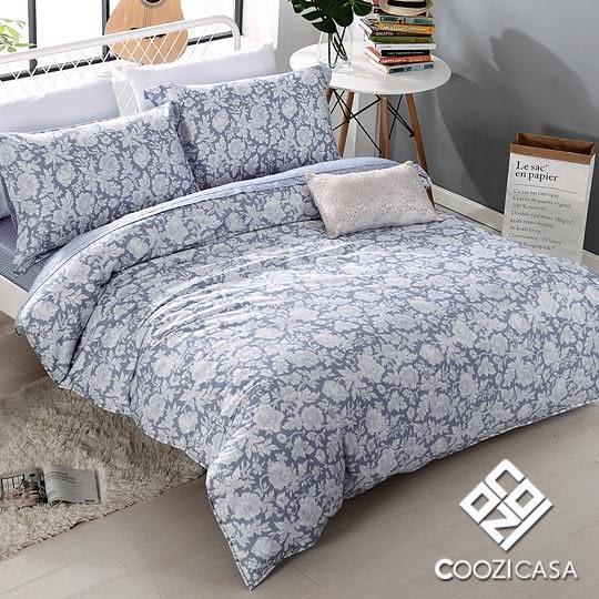 雙人四件式吸濕排汗天絲兩用被床包組-COOZI CASA靜謐香氛-藍