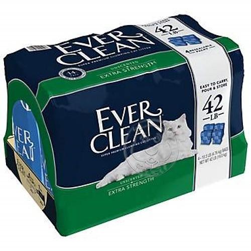 四個工作天出貨除了缺貨》美國EVERCLEAN 》低過敏結塊貓砂(藍標)-42lb免運送到家