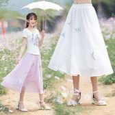 清雅蝴蝶繡花仿真絲鬆緊腰高腰裙民族風雙層半身裙