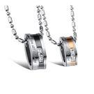 【5折超值價】【316L西德鈦鋼】韓版時尚水晶鑽鍍玫瑰金情侶鈦鋼項鏈