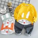 長袖套裝 男女童可愛卡通兔寶寶+條紋褲套裝 W76023 AIB小舖