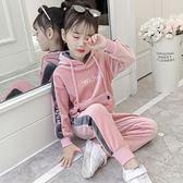 女童春裝套裝新品正韓女洋氣兒童金絲絨運動衛衣兩件套洋氣潮