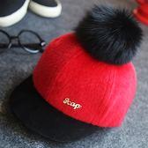 新年大促春秋冬季寶寶狐貍毛球帽子冬天親子男童女童鴨舌帽嬰兒童棒球帽潮