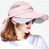 夏季遮陽帽女防曬帽可伸縮空頂棒球帽防紫外線太陽帽戶外大沿沙灘  伊鞋本铺