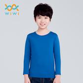 【WIWI】MIT溫灸刷毛圓領發熱衣(翡翠藍 童70-150)