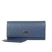 PRADA SAFFIANO 三角LOGO 釦式長夾-附證件卡(藍色)