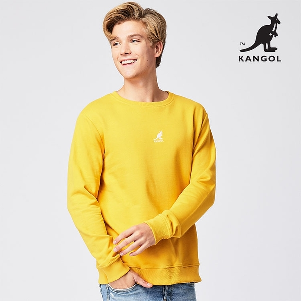 KANGOL 袋鼠 - 中間刺繡袋鼠小LOGO大學T 黃色【60551046】
